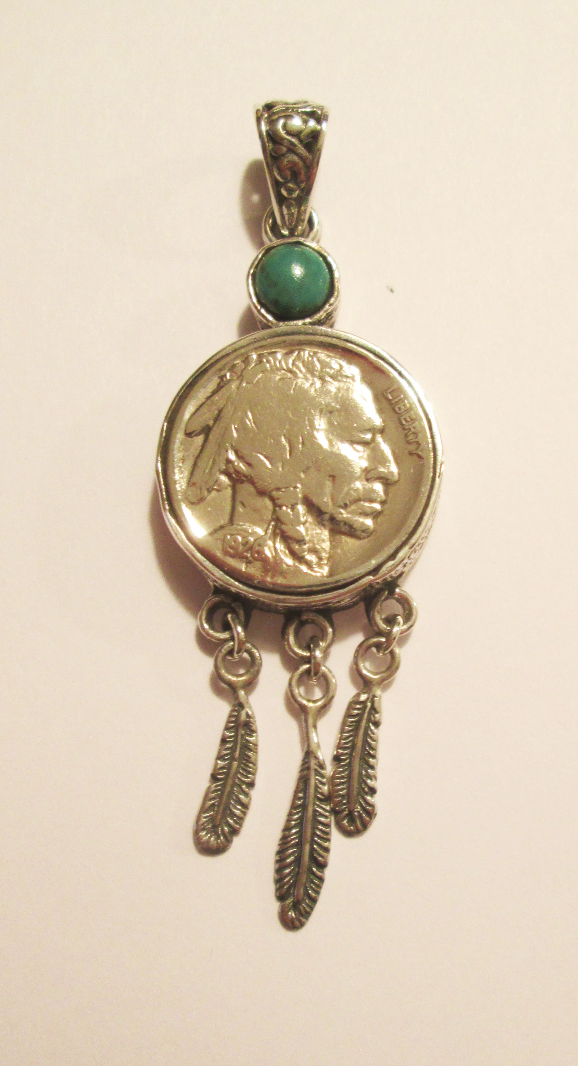 Buffalo Nickel Feather pendant with Turquoise – ADB100