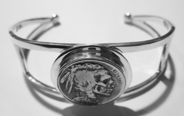 Hand Carved Hobo Nickel Bracelet -HB2B