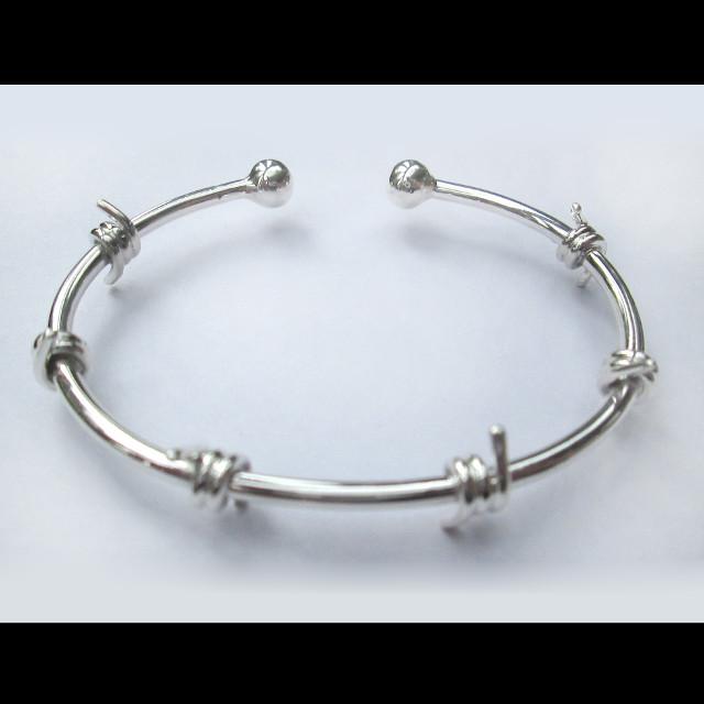 "Sterling Silver ""Barbed Wire"" Cuff Bracelet – B19"