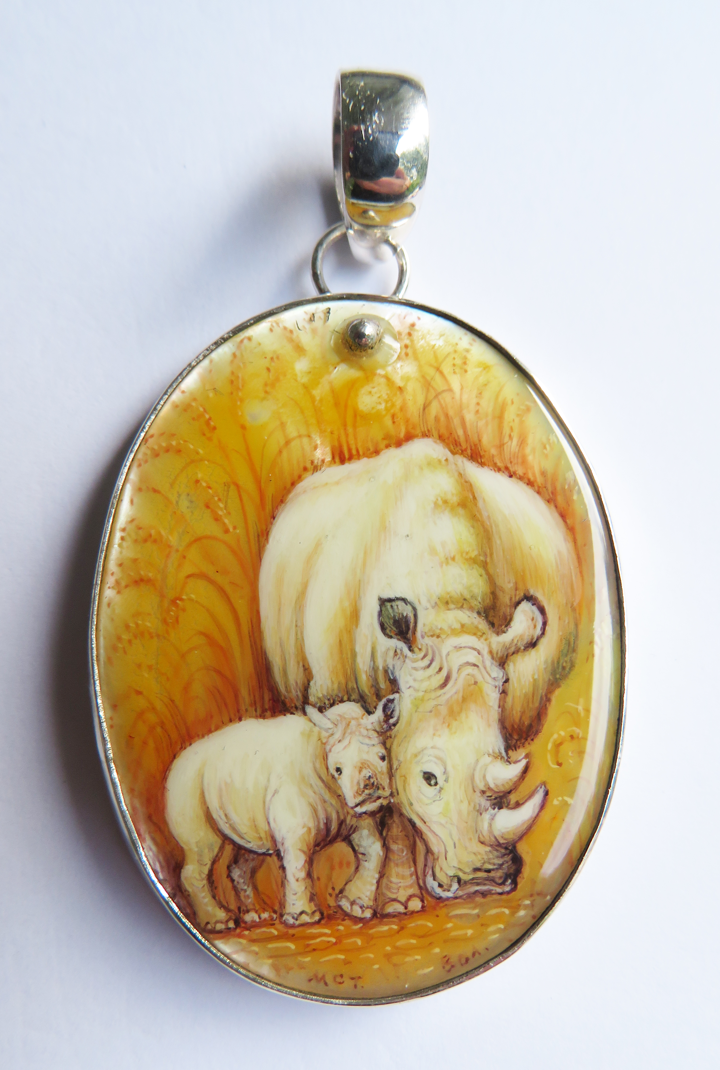 Rhinoceros Mother and Child Pendant – BP8