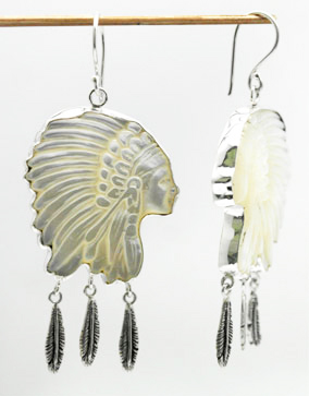 carved indian head earrings – IHE