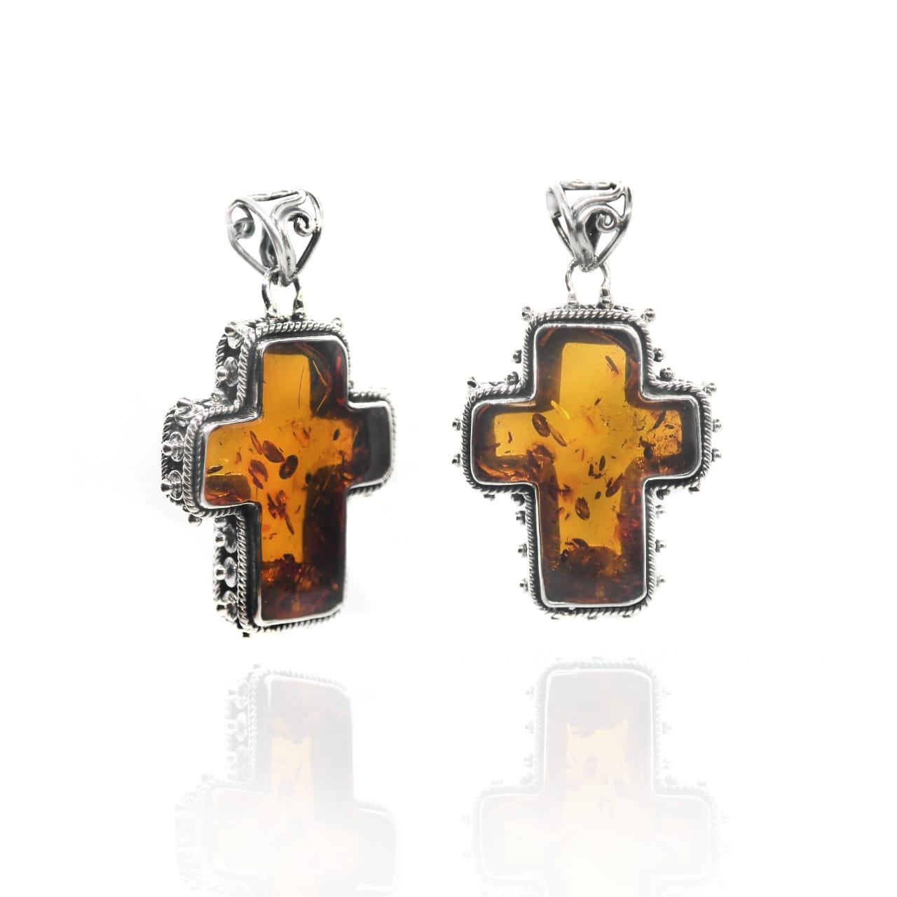 Amber cross pendant – ( KBP24)