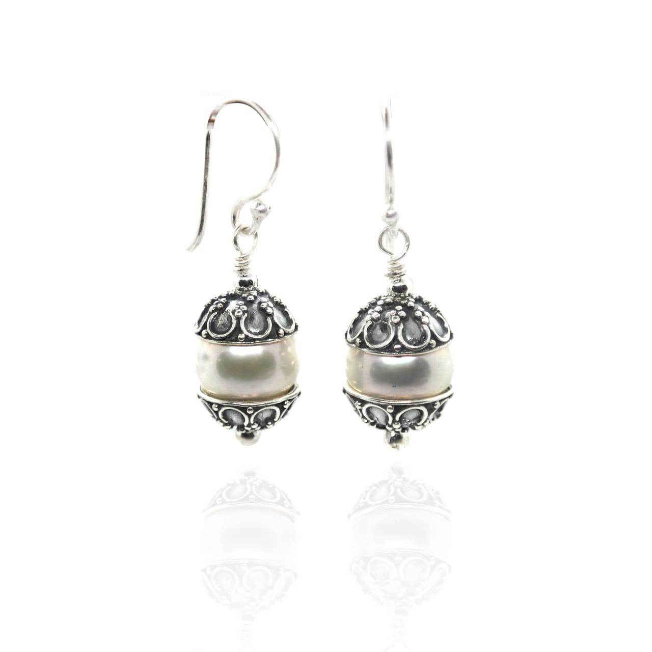 Silver Capped Pearl drop earrings – (BP28E)