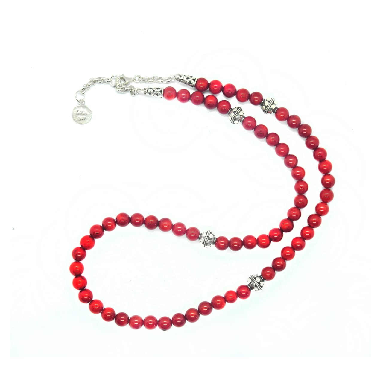 Dyed Coral Beaded Necklace – (NB-RED)