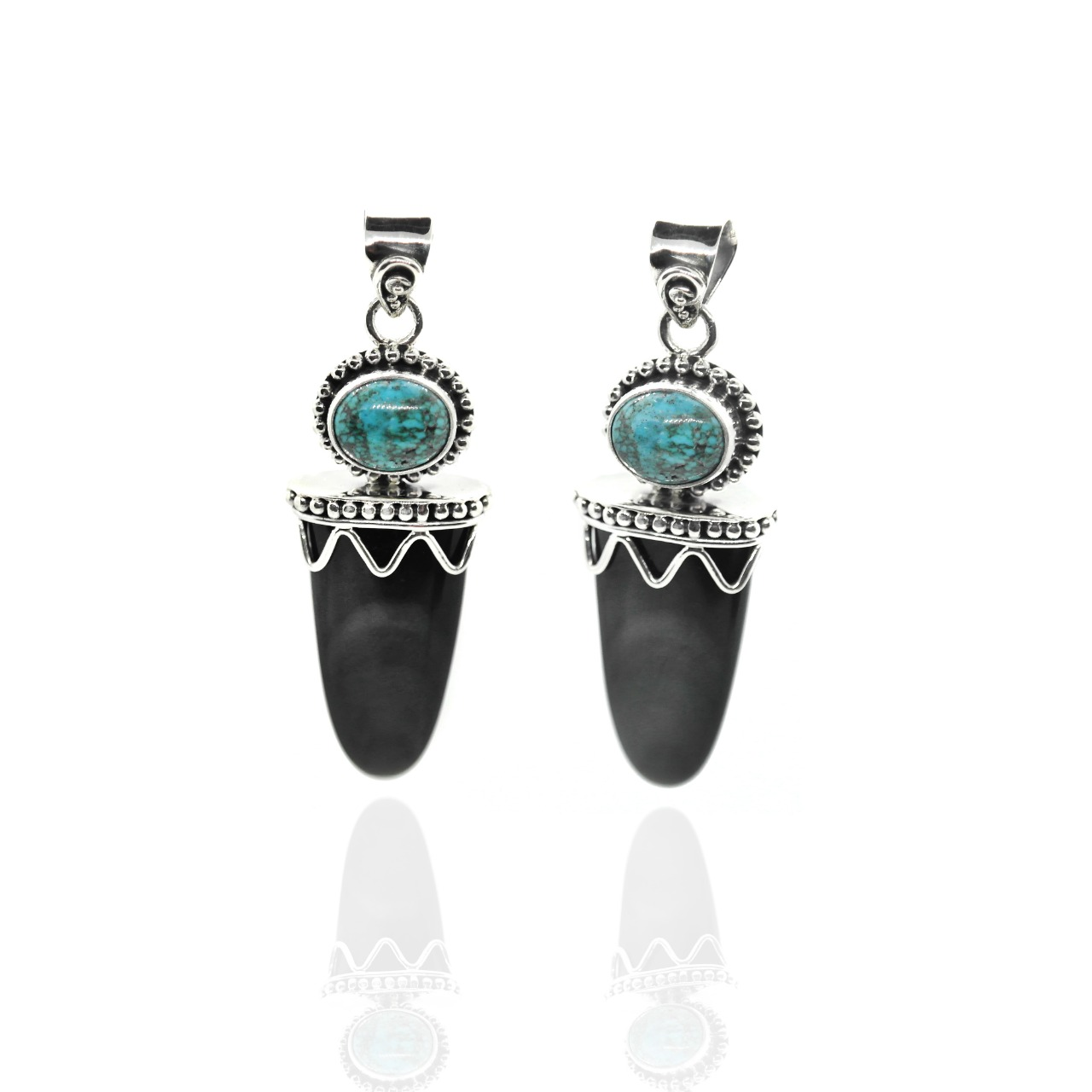 Rainbow Obsidian and Turquoise pendant – (ADB5)