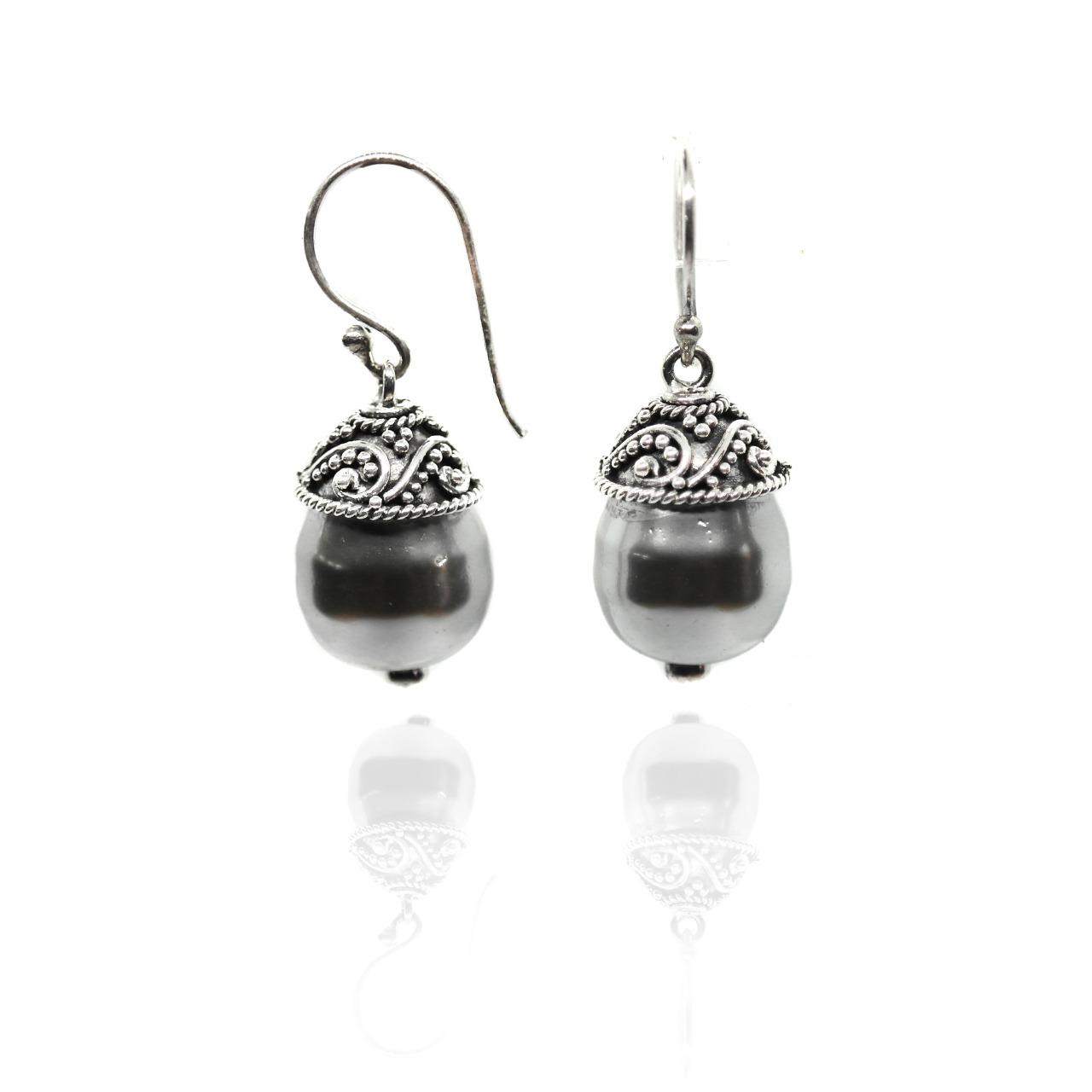 Shell Pearl Dangle Earrings – (BE14)